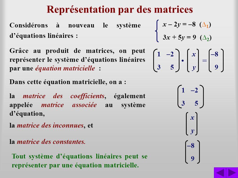 Représentation par des matrices 1–2–8 359 x – 2y = –8 ( 1 ) 3x + 5y = 9 ( 2 ) On peut également représenter le système déquations linéaires par la matrice augmentée associée au système.