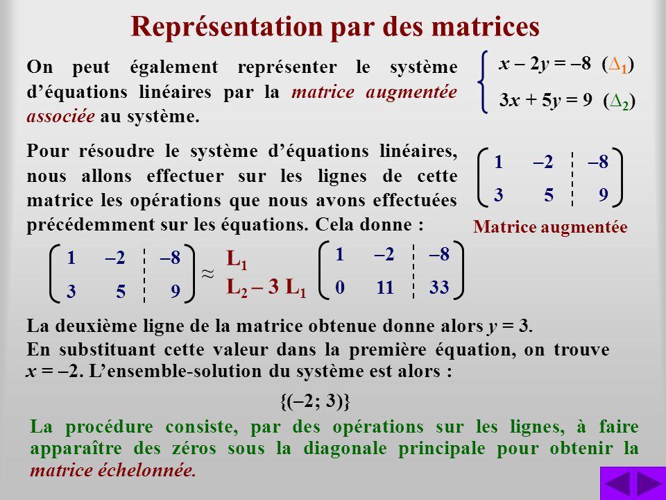 Représentation par des matrices 1–2–8 359 x – 2y = –8 ( 1 ) 3x + 5y = 9 ( 2 ) On peut également représenter le système déquations linéaires par la mat