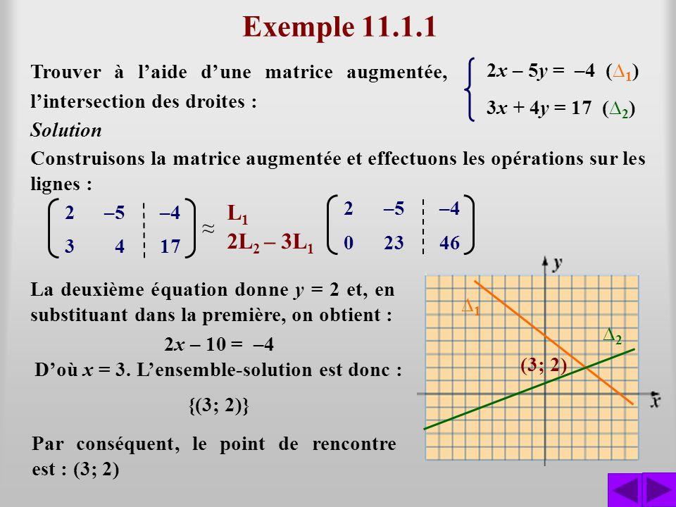 Exemple 11.1.1 Trouver à laide dune matrice augmentée, lintersection des droites : 2x – 5y = –4 ( 1 ) 3x + 4y = 17 ( 2 ) Construisons la matrice augme