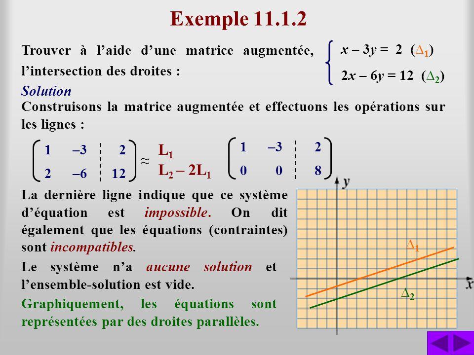 Exemple 11.1.3 Trouver à laide dune matrice augmentée, lintersection des droites : x – 3y = 2 ( 1 ) 3x – 9y = 6 ( 2 ) Construisons la matrice augmentée et effectuons les opérations : Il reste moins déquations que din- connues, cela signifie quil y a une infinité de solutions.