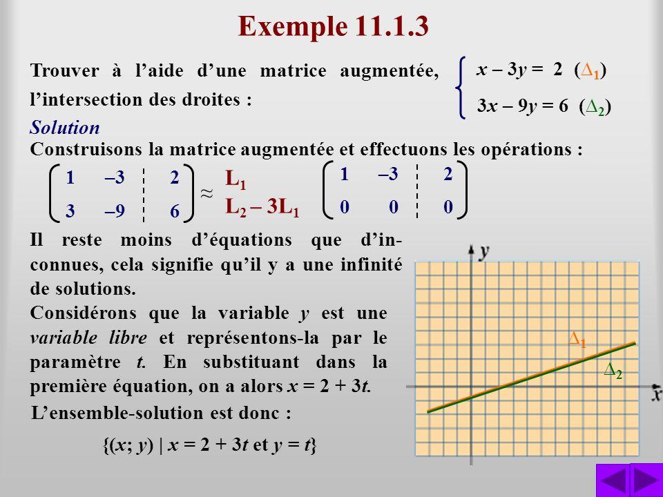 Exemple 11.1.3 Trouver à laide dune matrice augmentée, lintersection des droites : x – 3y = 2 ( 1 ) 3x – 9y = 6 ( 2 ) Construisons la matrice augmenté