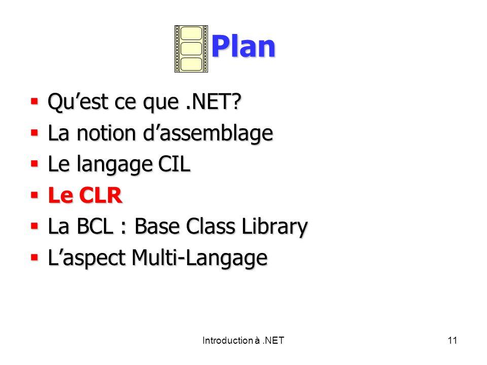 Introduction à.NET11 Plan Quest ce que.NET.Quest ce que.NET.