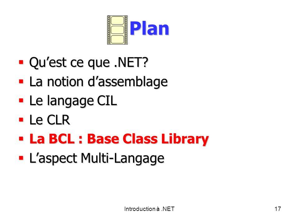 Introduction à.NET17 Plan Quest ce que.NET.Quest ce que.NET.