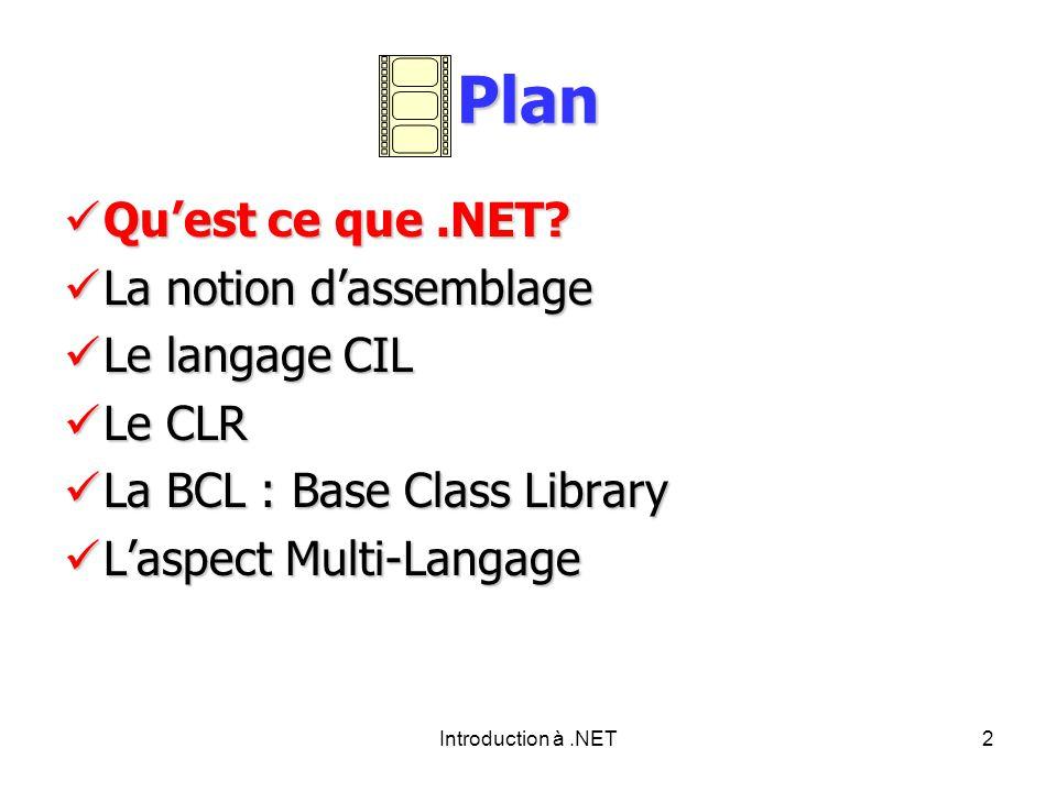 Introduction à.NET2 Plan Quest ce que.NET. Quest ce que.NET.
