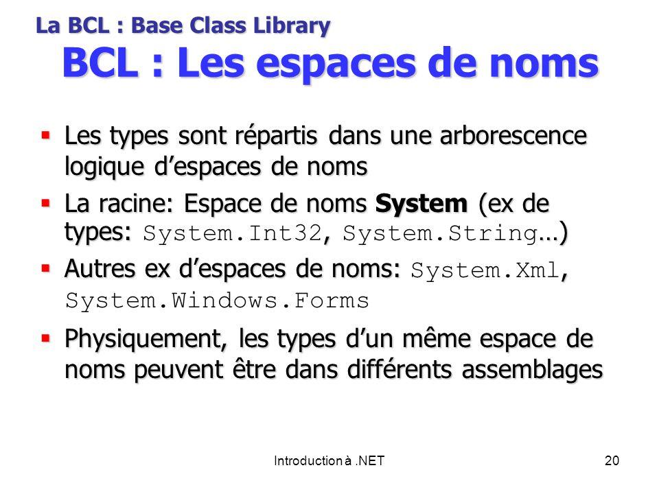 Introduction à.NET20 BCL : Les espaces de noms Les types sont répartis dans une arborescence logique despaces de noms Les types sont répartis dans une arborescence logique despaces de noms La racine: Espace de noms System (ex de types:, …) La racine: Espace de noms System (ex de types: System.Int32, System.String …) Autres ex despaces de noms:, Autres ex despaces de noms: System.Xml, System.Windows.Forms Physiquement, les types dun même espace de noms peuvent être dans différents assemblages Physiquement, les types dun même espace de noms peuvent être dans différents assemblages La BCL : Base Class Library