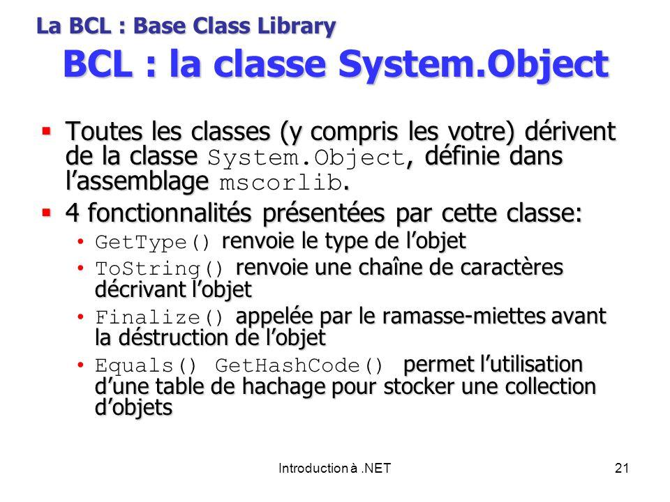 Introduction à.NET21 BCL : la classe System.Object Toutes les classes (y compris les votre) dérivent de la classe, définie dans lassemblage.
