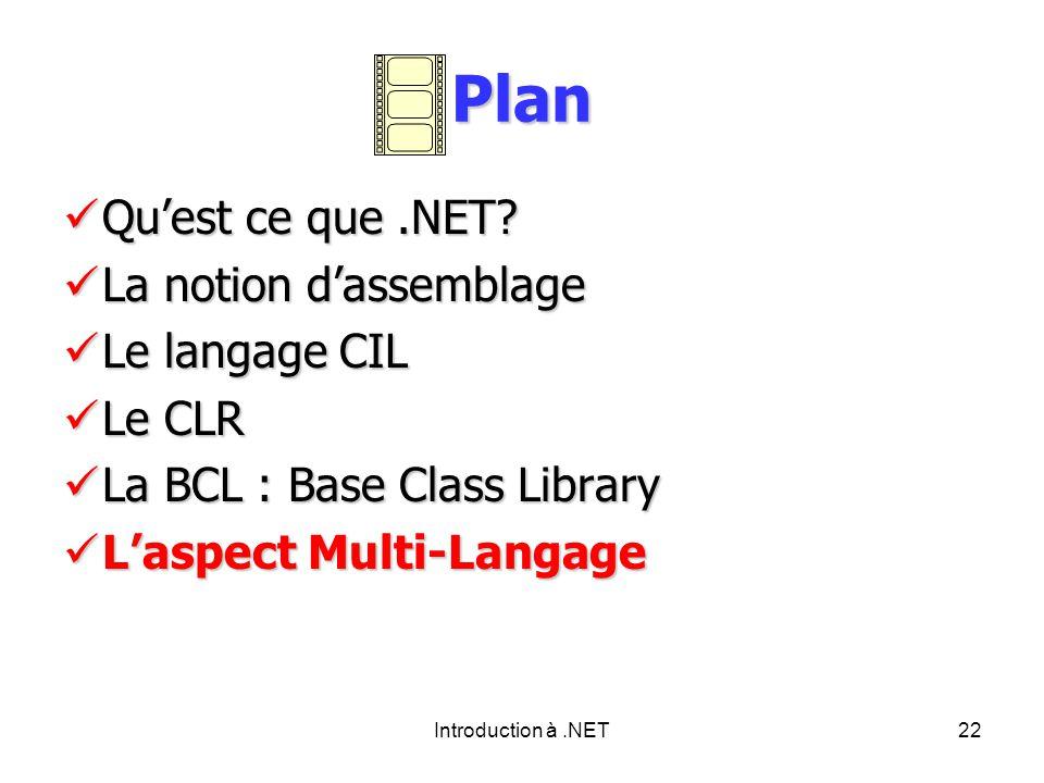 Introduction à.NET22 Plan Quest ce que.NET. Quest ce que.NET.