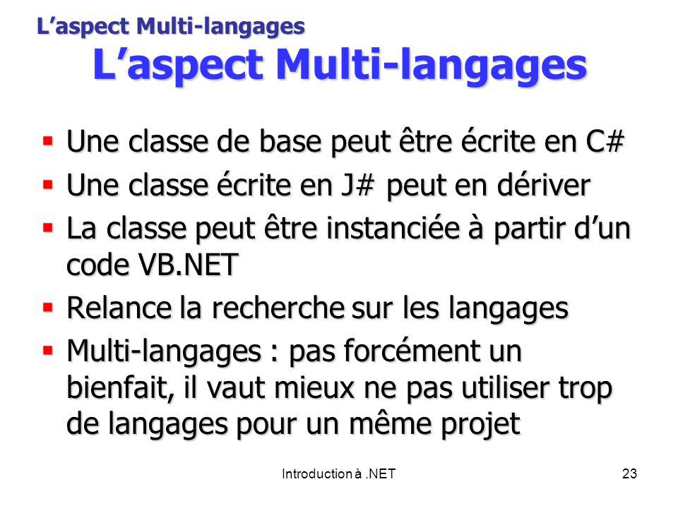 Introduction à.NET23 Laspect Multi-langages Une classe de base peut être écrite en C# Une classe de base peut être écrite en C# Une classe écrite en J# peut en dériver Une classe écrite en J# peut en dériver La classe peut être instanciée à partir dun code VB.NET La classe peut être instanciée à partir dun code VB.NET Relance la recherche sur les langages Relance la recherche sur les langages Multi-langages : pas forcément un bienfait, il vaut mieux ne pas utiliser trop de langages pour un même projet Multi-langages : pas forcément un bienfait, il vaut mieux ne pas utiliser trop de langages pour un même projet Laspect Multi-langages