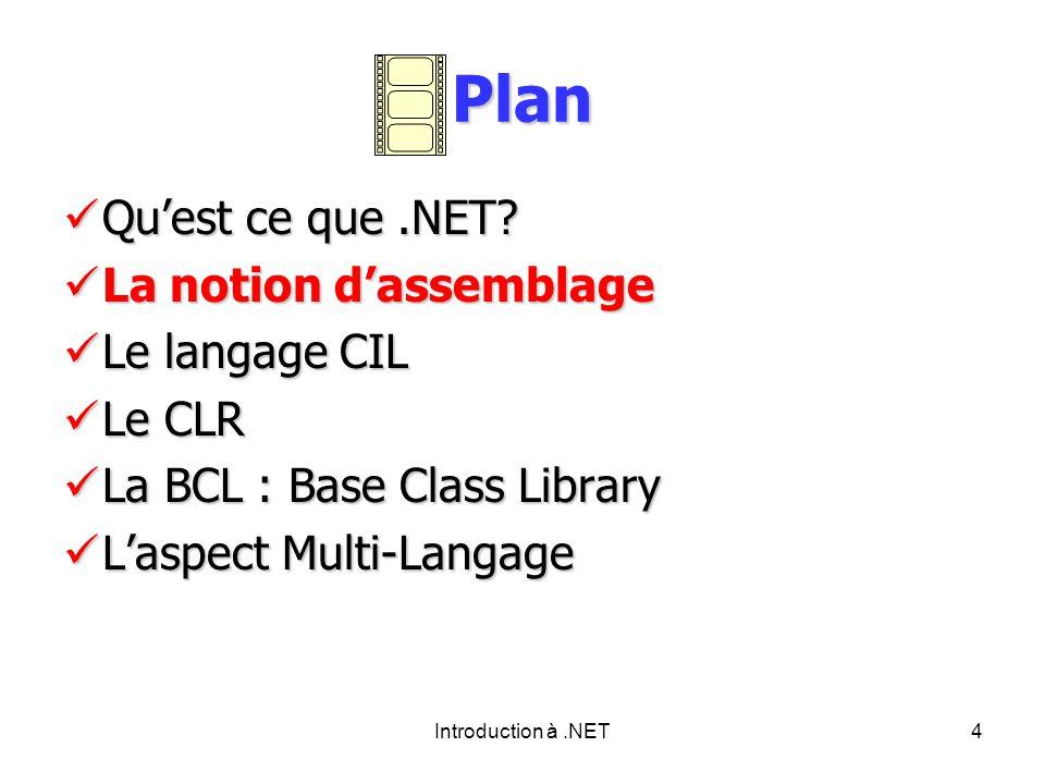Introduction à.NET4 Plan Quest ce que.NET.Quest ce que.NET.