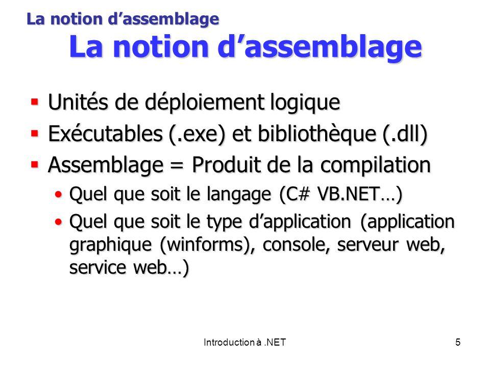 Introduction à.NET5 La notion dassemblage Unités de déploiement logique Unités de déploiement logique Exécutables (.exe) et bibliothèque (.dll) Exécutables (.exe) et bibliothèque (.dll) Assemblage = Produit de la compilation Assemblage = Produit de la compilation Quel que soit le langage (C# VB.NET…)Quel que soit le langage (C# VB.NET…) Quel que soit le type dapplication (application graphique (winforms), console, serveur web, service web…)Quel que soit le type dapplication (application graphique (winforms), console, serveur web, service web…) La notion dassemblage