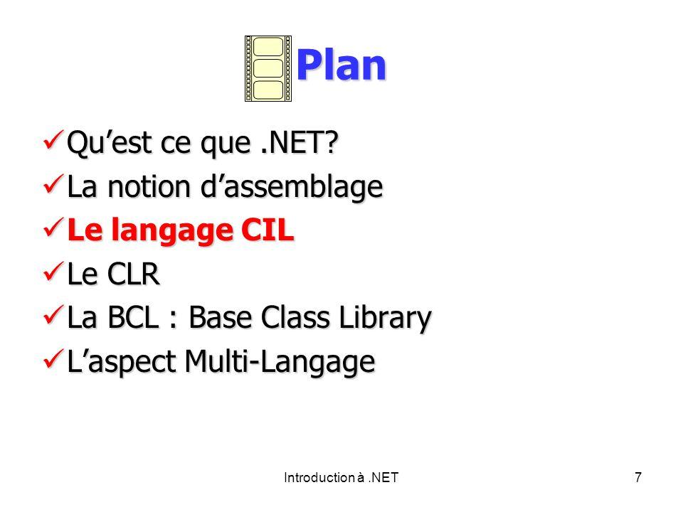 Introduction à.NET7 Plan Quest ce que.NET.Quest ce que.NET.