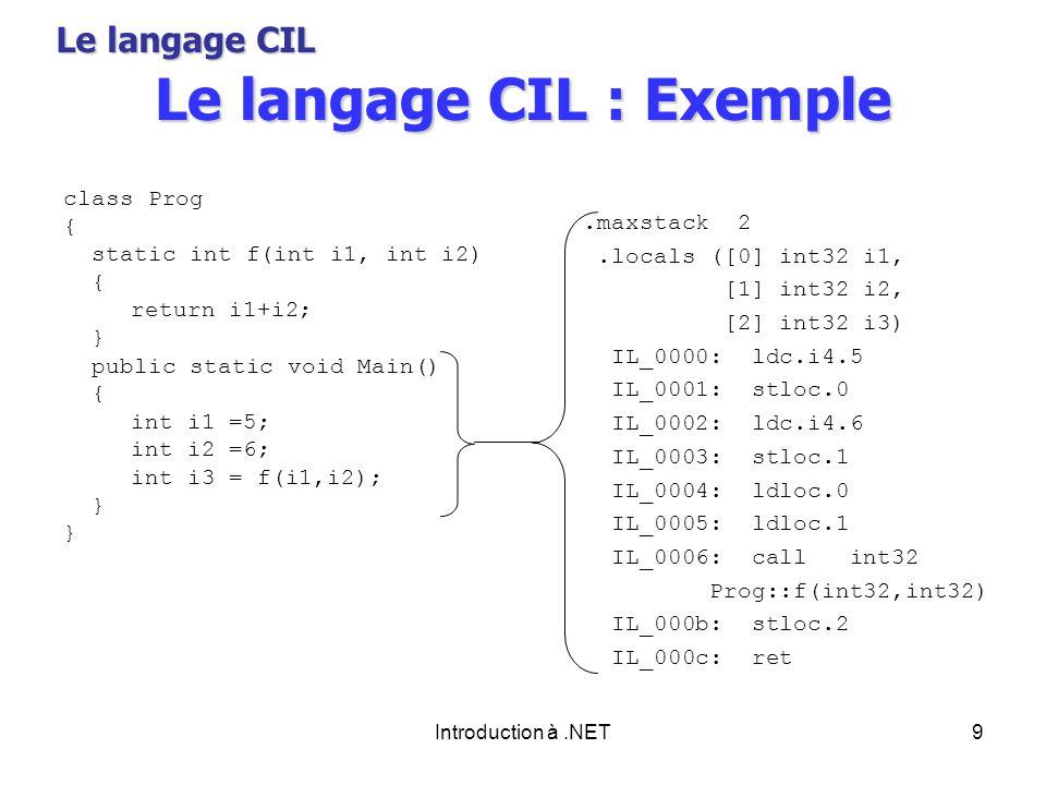 Introduction à.NET9 Le langage CIL : Exemple class Prog { static int f(int i1, int i2) { return i1+i2; } public static void Main() { int i1 =5; int i2 =6; int i3 = f(i1,i2); }.maxstack 2.locals ([0] int32 i1, [1] int32 i2, [2] int32 i3) IL_0000: ldc.i4.5 IL_0001: stloc.0 IL_0002: ldc.i4.6 IL_0003: stloc.1 IL_0004: ldloc.0 IL_0005: ldloc.1 IL_0006: call int32 Prog::f(int32,int32) IL_000b: stloc.2 IL_000c: ret Le langage CIL