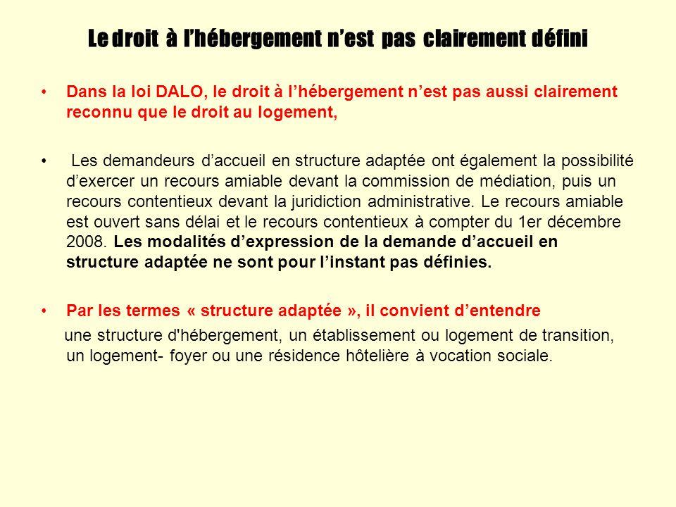 Le droit à lhébergement nest pas clairement défini Dans la loi DALO, le droit à lhébergement nest pas aussi clairement reconnu que le droit au logemen