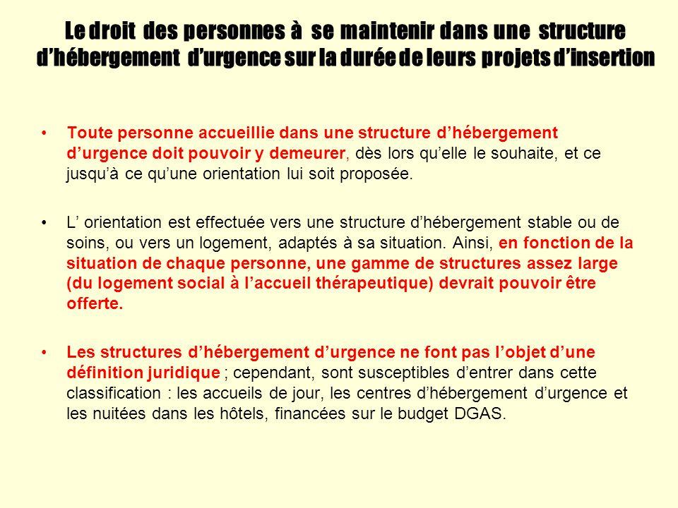 Le droit des personnes à se maintenir dans une structure dhébergement durgence sur la durée de leurs projets dinsertion Toute personne accueillie dans