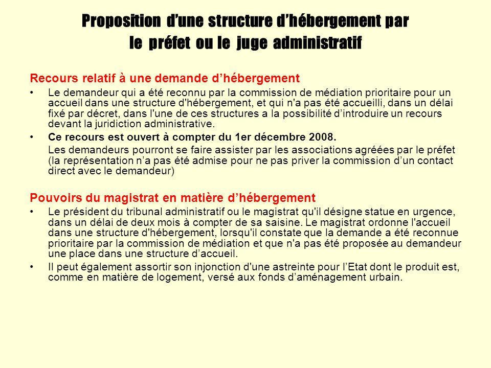Proposition dune structure dhébergement par le préfet ou le juge administratif Recours relatif à une demande dhébergement Le demandeur qui a été recon