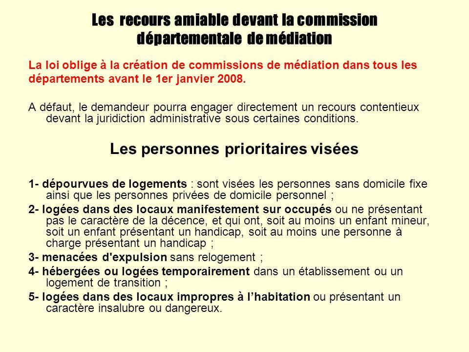 Les recours amiable devant la commission départementale de médiation La loi oblige à la création de commissions de médiation dans tous les département