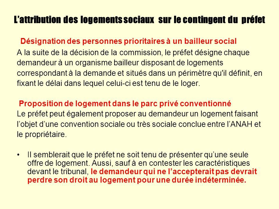 Lattribution des logements sociaux sur le contingent du préfet Désignation des personnes prioritaires à un bailleur social A la suite de la décision d