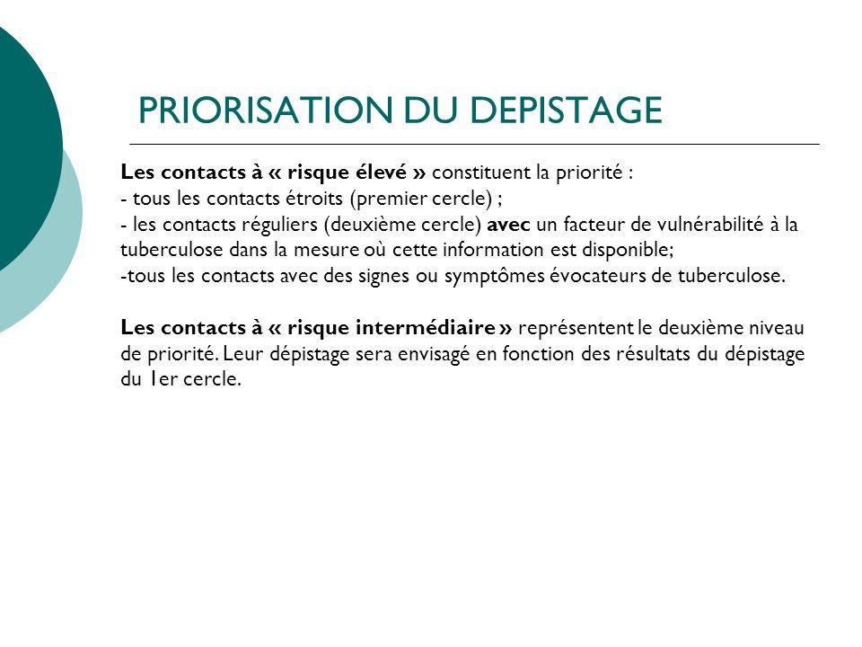 PRIORISATION DU DEPISTAGE Les contacts à « risque élevé » constituent la priorité : - tous les contacts étroits (premier cercle) ; - les contacts régu