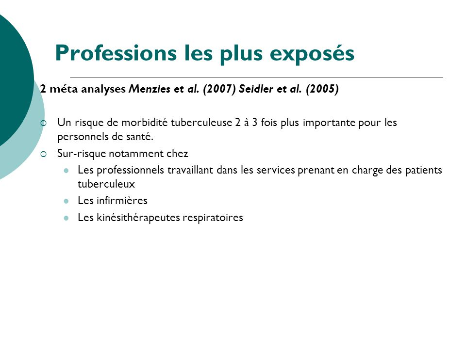 Professions les plus exposés 2 méta analyses Menzies et al. (2007) Seidler et al. (2005) Un risque de morbidité tuberculeuse 2 à 3 fois plus important