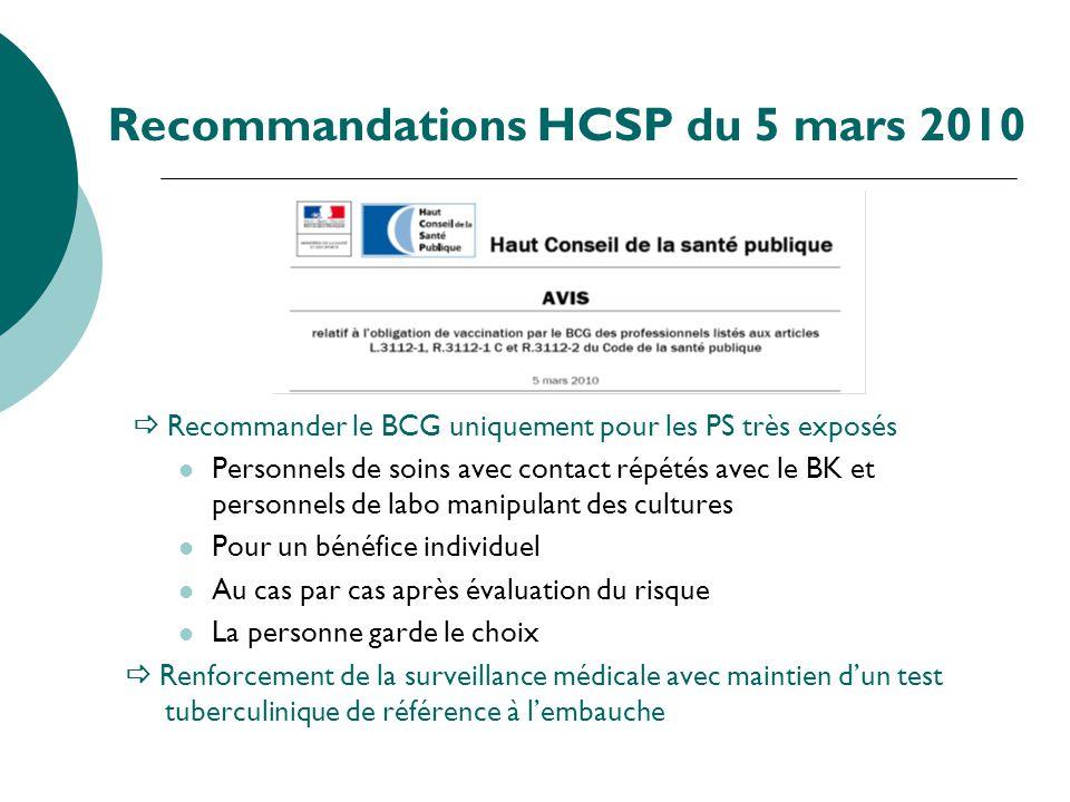 Recommandations HCSP du 5 mars 2010 Recommander le BCG uniquement pour les PS très exposés Personnels de soins avec contact répétés avec le BK et pers