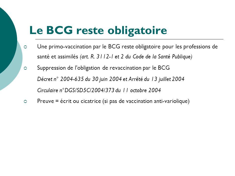 Le BCG reste obligatoire Une primo-vaccination par le BCG reste obligatoire pour les professions de santé et assimilés (art. R. 3112-1 et 2 du Code de