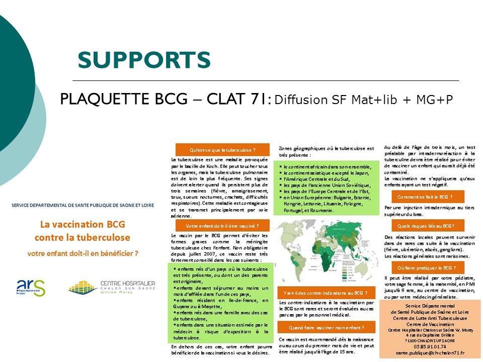 PLAQUETTE BCG – CLAT 71: Diffusion SF Mat+lib + MG+P