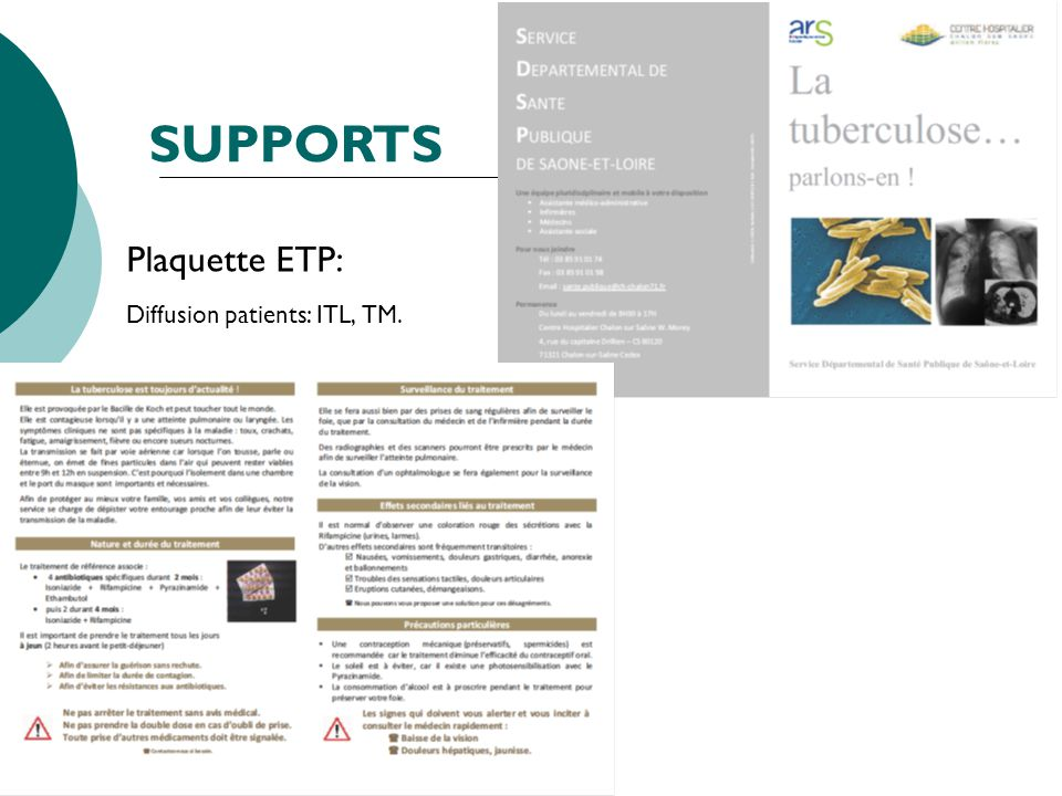 Plaquette ETP: Diffusion patients: ITL, TM. SUPPORTS