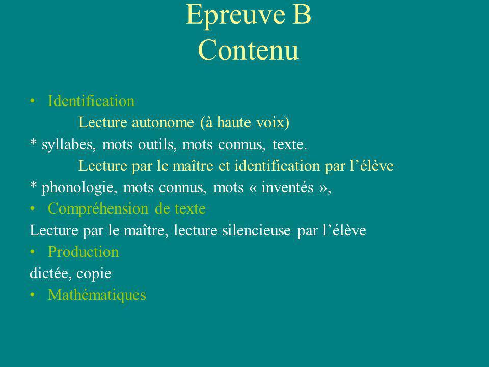 Epreuve B Contenu Identification Lecture autonome (à haute voix) * syllabes, mots outils, mots connus, texte. Lecture par le maître et identification