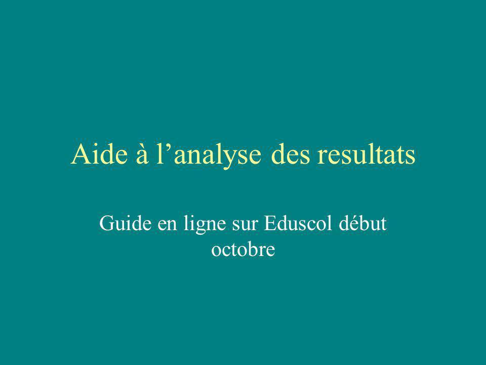 Aide à lanalyse des resultats Guide en ligne sur Eduscol début octobre