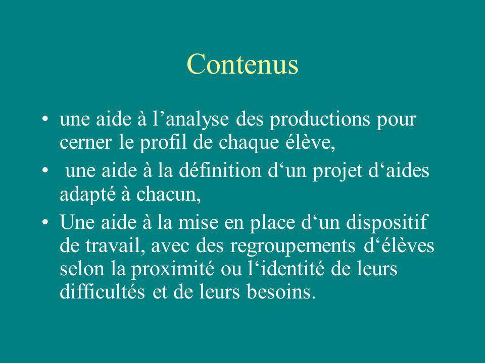 Contenus une aide à lanalyse des productions pour cerner le profil de chaque élève, une aide à la définition dun projet daides adapté à chacun, Une ai