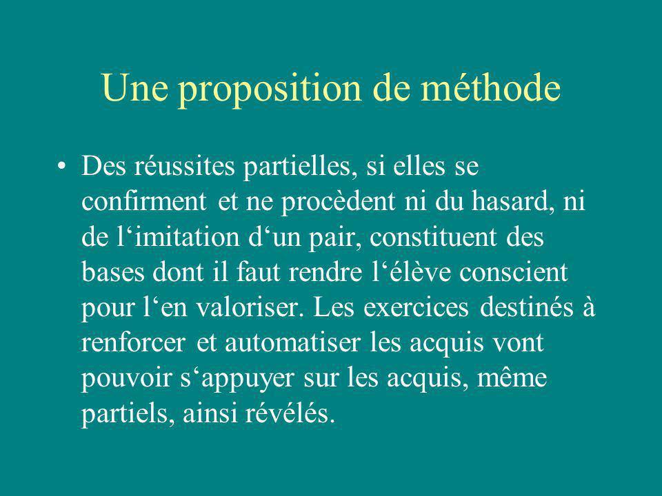 Une proposition de méthode Des réussites partielles, si elles se confirment et ne procèdent ni du hasard, ni de limitation dun pair, constituent des b