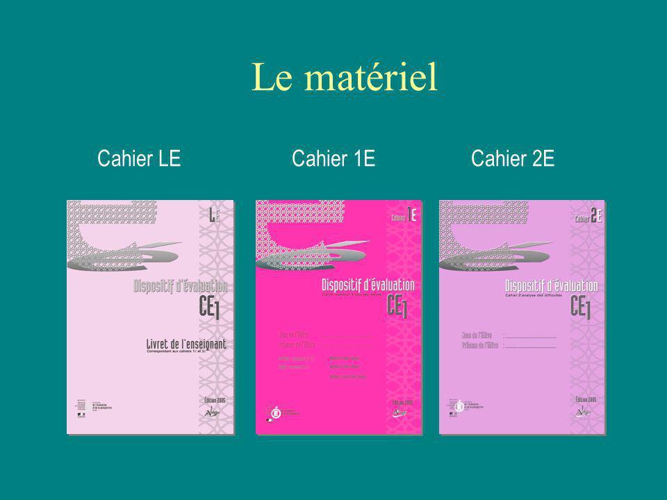 Le matériel Cahier LECahier 1ECahier 2E