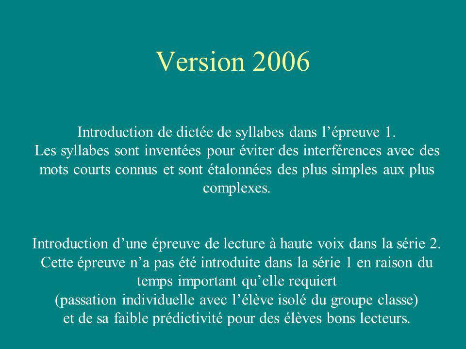 Introduction de dictée de syllabes dans lépreuve 1. Les syllabes sont inventées pour éviter des interférences avec des mots courts connus et sont étal