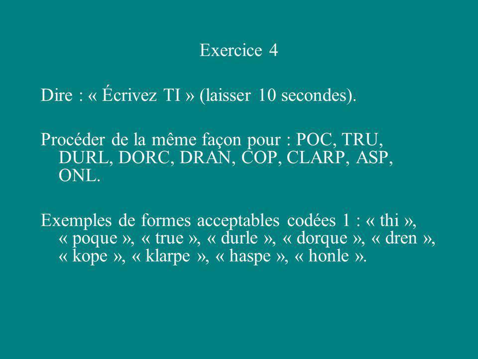 Exercice 4 Dire : « Écrivez TI » (laisser 10 secondes). Procéder de la même façon pour : POC, TRU, DURL, DORC, DRAN, COP, CLARP, ASP, ONL. Exemples de