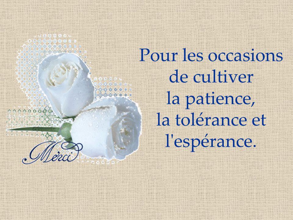 Pour les occasions de cultiver la patience, la tolérance et l espérance.