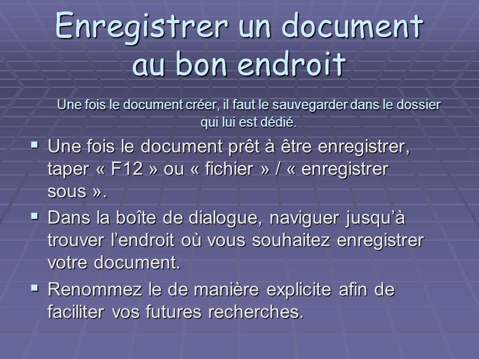 Enregistrer un document au bon endroit Une fois le document créer, il faut le sauvegarder dans le dossier qui lui est dédié.