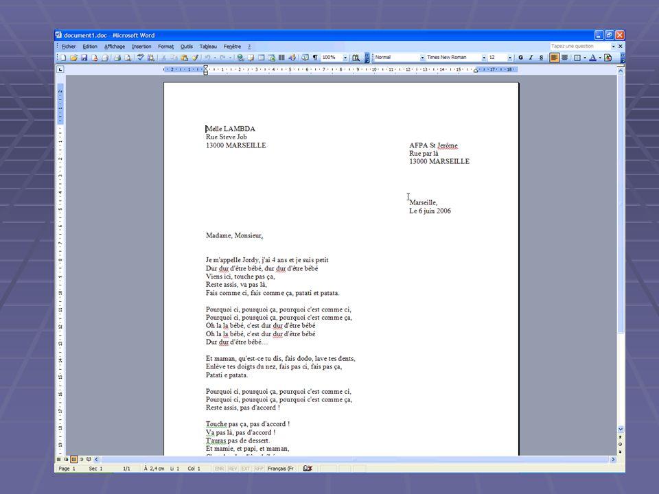 Enregistrer un document au bon endroit Une fois le document créer, il faut le sauvegarder dans le dossier qui lui est dédié. Une fois le document prêt