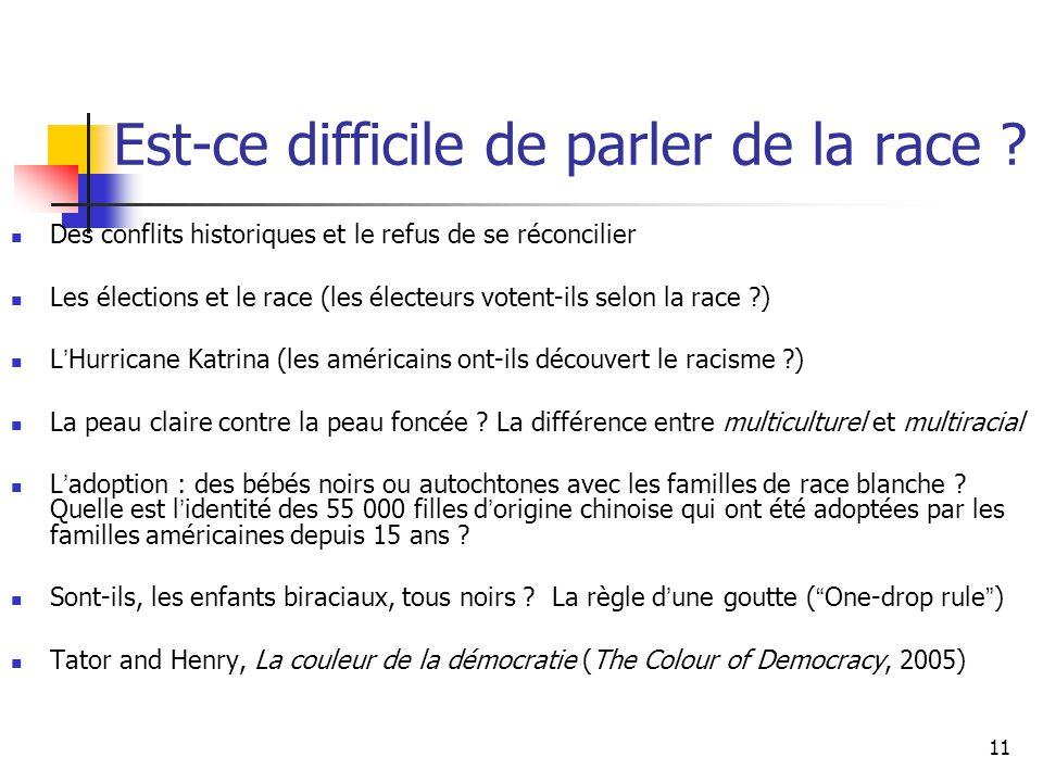 11 Est-ce difficile de parler de la race ? Des conflits historiques et le refus de se réconcilier Les élections et le race (les électeurs votent-ils s