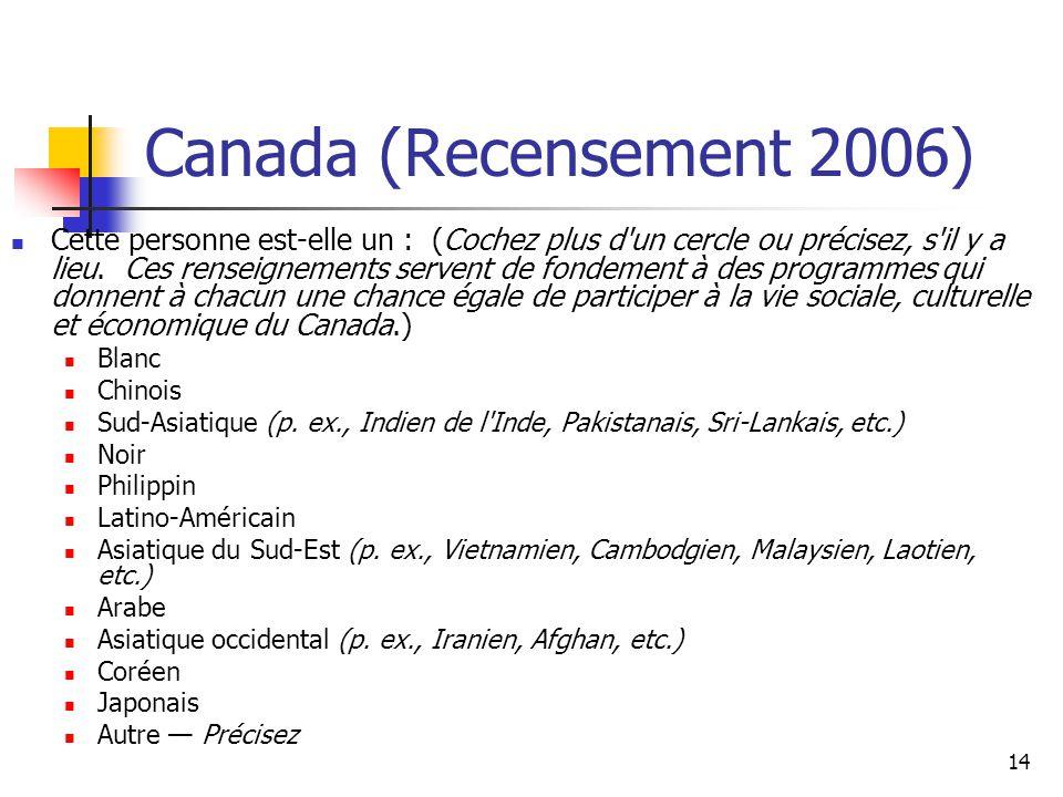 14 Canada (Recensement 2006) Cette personne est-elle un : (Cochez plus d'un cercle ou précisez, s'il y a lieu. Ces renseignements servent de fondement