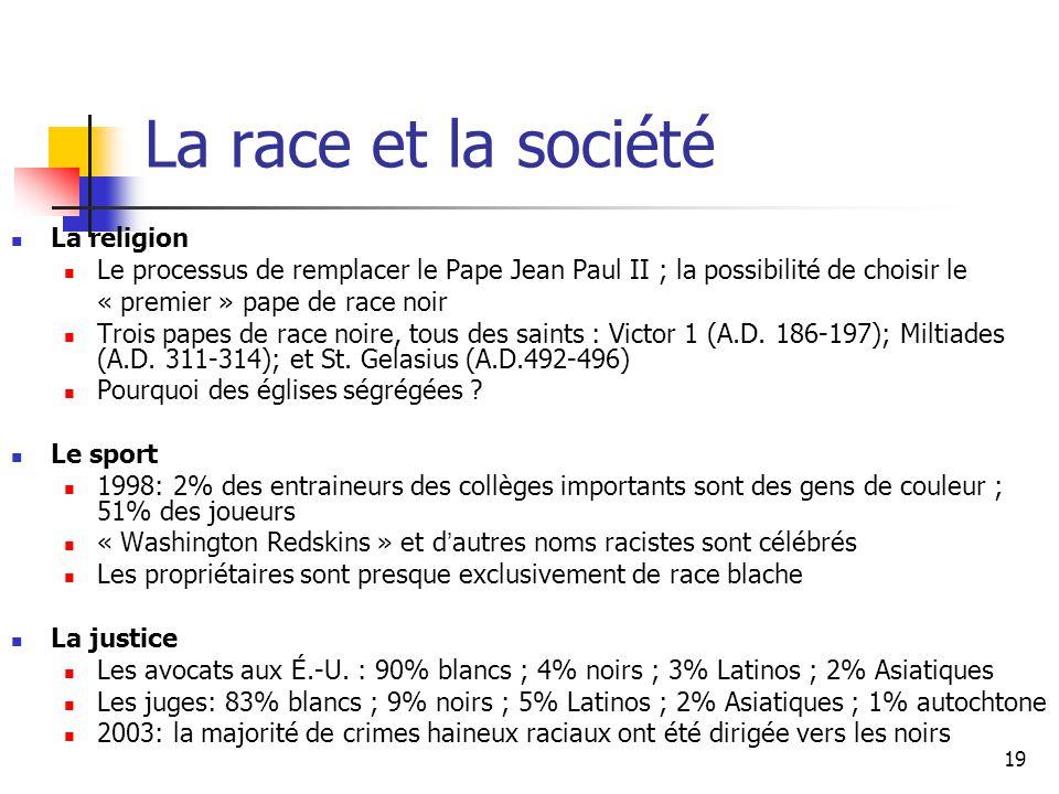 19 La race et la société La religion Le processus de remplacer le Pape Jean Paul II ; la possibilité de choisir le « premier » pape de race noir Trois