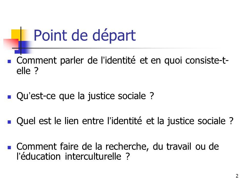 2 Point de départ Comment parler de l identité et en quoi consiste-t- elle ? Qu est-ce que la justice sociale ? Quel est le lien entre l identité et l