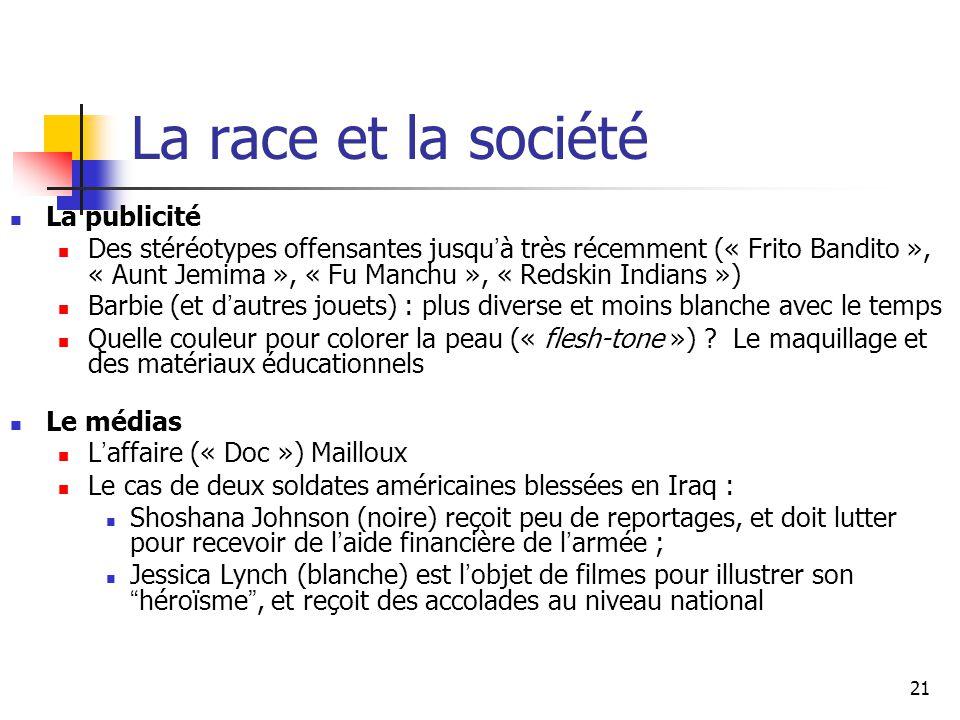 21 La race et la société La publicité Des stéréotypes offensantes jusqu à très récemment (« Frito Bandito », « Aunt Jemima », « Fu Manchu », « Redskin