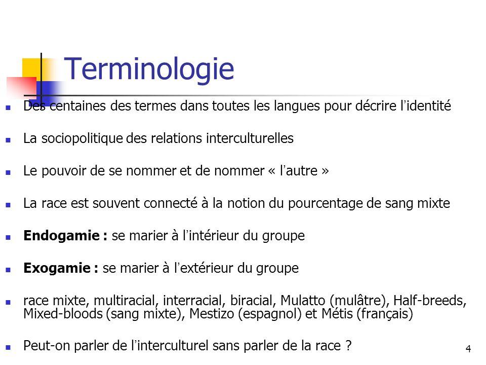 4 Terminologie Des centaines des termes dans toutes les langues pour décrire l identité La sociopolitique des relations interculturelles Le pouvoir de
