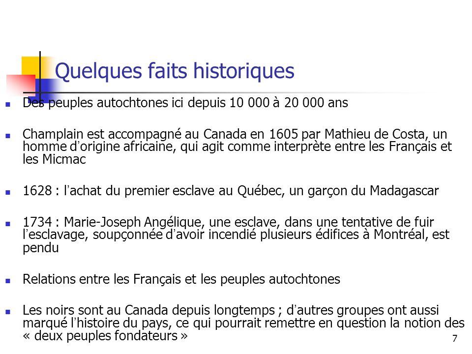 7 Quelques faits historiques Des peuples autochtones ici depuis 10 000 à 20 000 ans Champlain est accompagné au Canada en 1605 par Mathieu de Costa, u