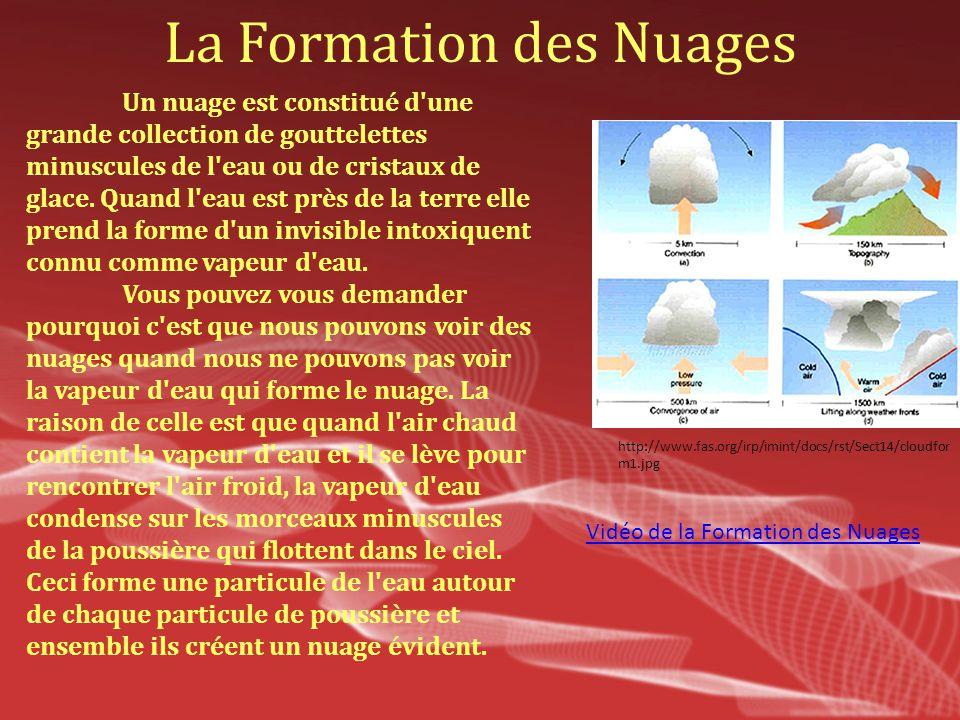 La Formation des Nuages Un nuage est constitué d'une grande collection de gouttelettes minuscules de l'eau ou de cristaux de glace. Quand l'eau est pr