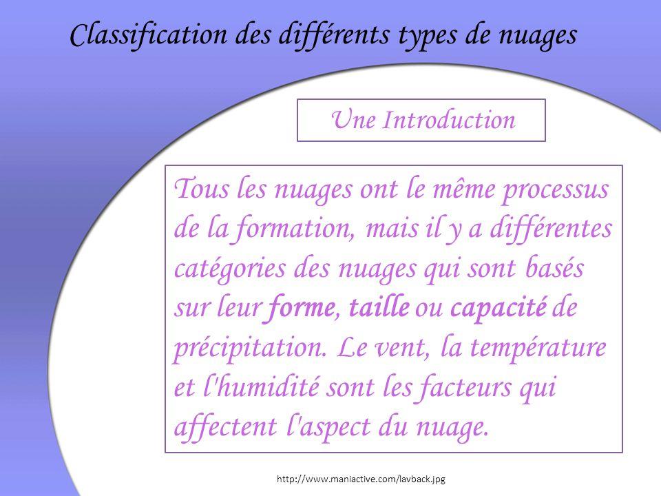 Tous les nuages ont le même processus de la formation, mais il y a différentes catégories des nuages qui sont basés sur leur forme, taille ou capacité