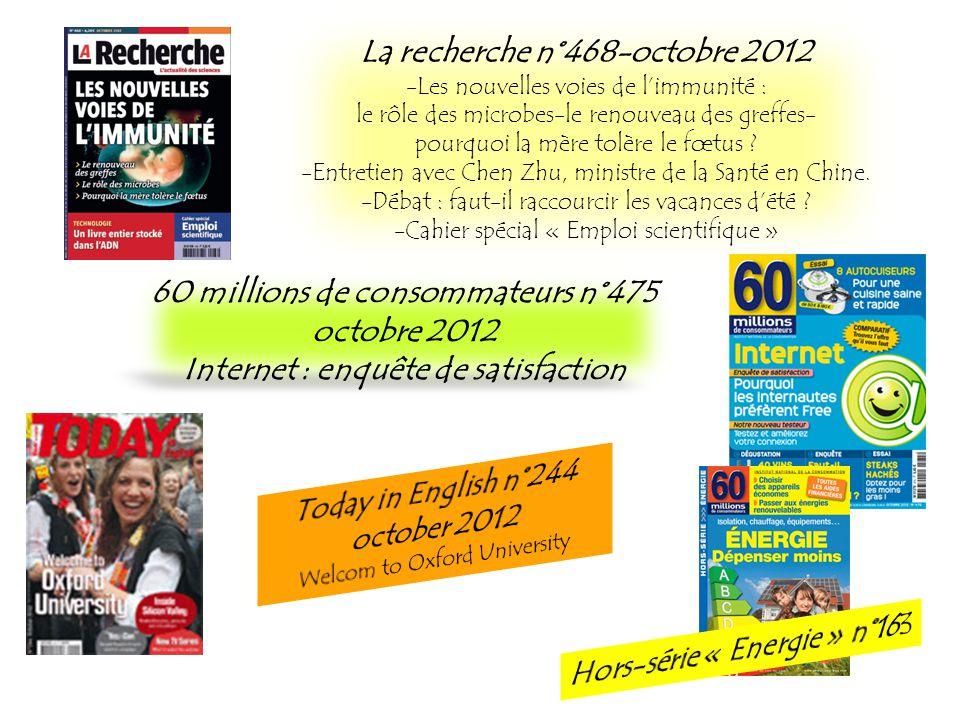 La recherche n°468-octobre 2012 -Les nouvelles voies de limmunité : le rôle des microbes-le renouveau des greffes- pourquoi la mère tolère le fœtus ?