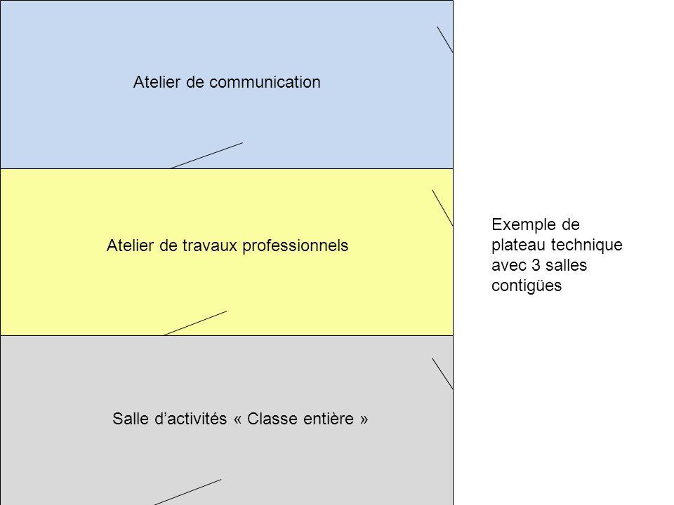 Atelier de communication Atelier de travaux professionnels Salle dactivités « Classe entière » Un espace dédié à la communication destiné à un demi-groupe classe.