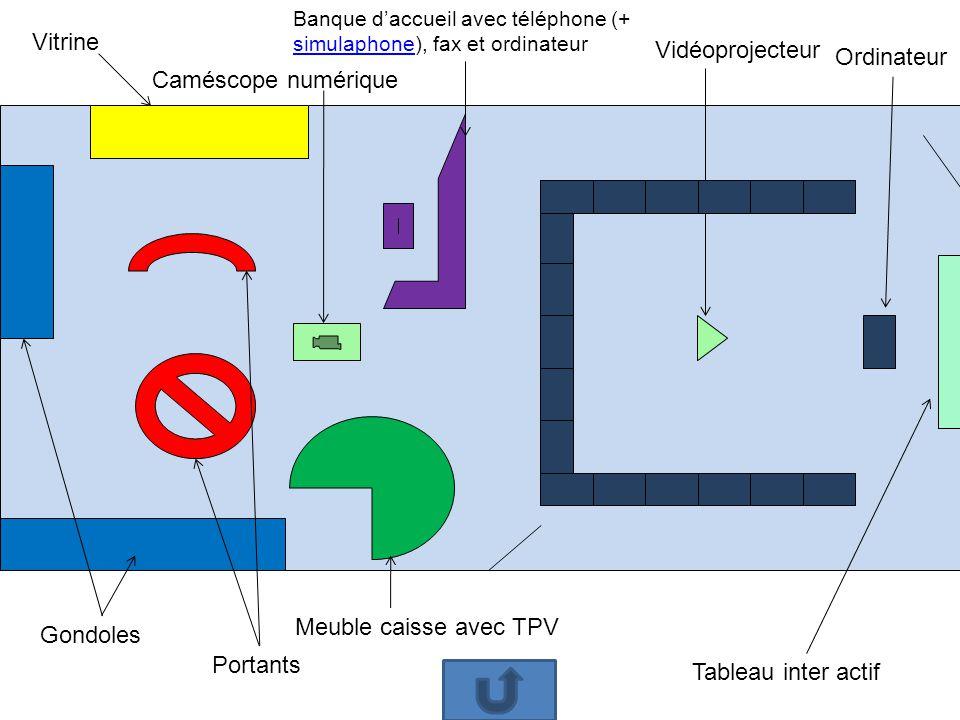 4 élèves par « marguerite » Vidéo projecteur Banque daccueil avec téléphone (+ simulaphone), fax et ordinateur Tableau interactifOrdinateur