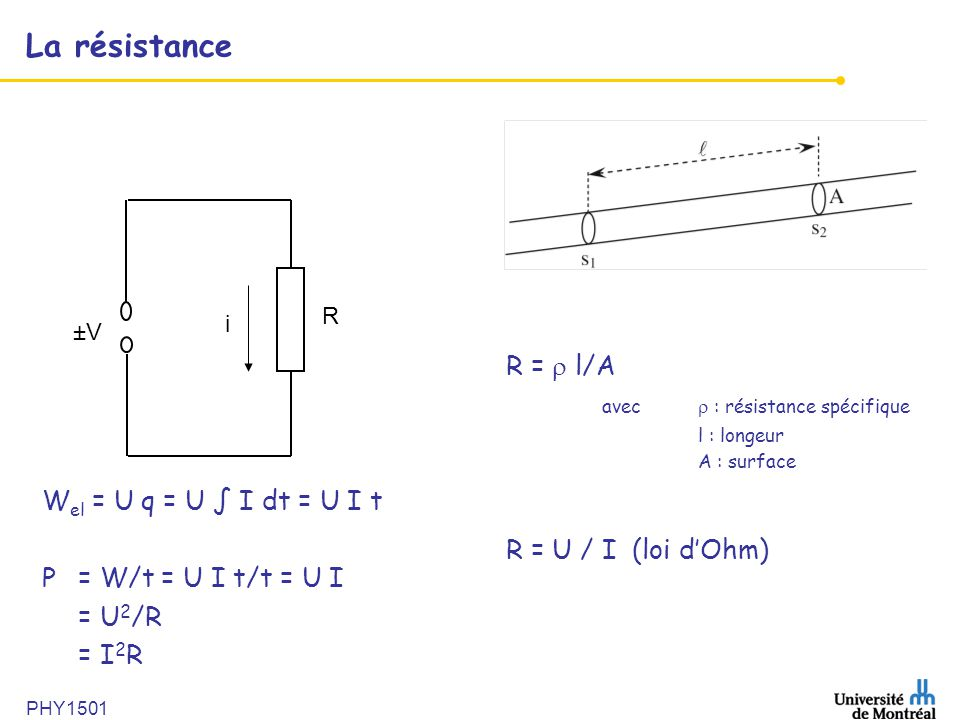 PHY1501 La résistance R = l/A avec : résistance spécifique l : longeur A : surface R = U / I (loi dOhm) ±V i R W el = U q = U I dt = U I t P = W/t = U